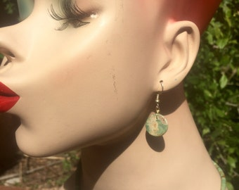 Natural Mahave green turquoise earrings