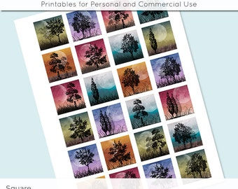 Digital Collage Sheet Moonlight Trees 1x1 Inch Squares and 1.5 Inch Squares Images for Glass Resin Pendants  JPG Q0005 S0005 1 Inch