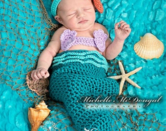 Newborn Baby Girl Mermaid Photo Prop Costume, 0 to 3 month Baby Halloween Costume