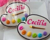 Artist Palette Cookies- 12 Decorated Sugar Cookie Favors