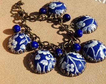 tin charm bracelet, blue and white, vintage tin, tin jewelry, blue beads, recycled, tin bracelet, cobalt blue, tin, cookie tin, tea tin
