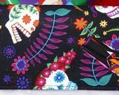 Floral Sugar Skulls - Check Book Cover, Pen Holder, CheckBook Case, Check Book, Register Holder