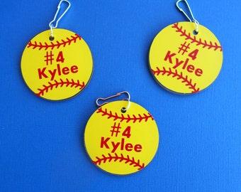 Personalized Softball Key Chain-Softball Bag Tag- Softball Team Gifts-Gifts for Softball-Softball Team Gifts-Softball Coach Gifts-