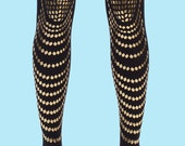 Goldfish,  gold printed fish scale opaque black tights, Classic collection