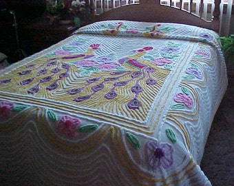 SALE 1940's-early 50's Peacock chenille bedspread- pretty and colorful