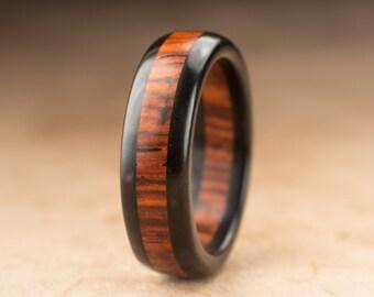 Size 9.75 - Ebony Cocobolo Wood Ring