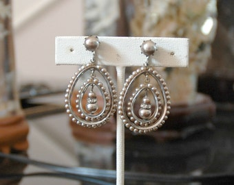 Early Unsigned Miriam Haskell Hoop Ear Pendants, Vintage Bride, Silver Glass Pearls, Silver Plate, Rhinestone Detail, Very Good Condition