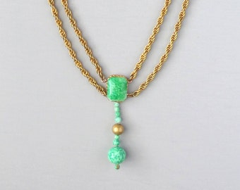 Art Deco Peking Glass Necklace. Festoon.