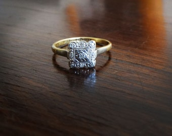 Antique Art Deco 1930 engagement ring platinum and 14k gold genuine diamonds
