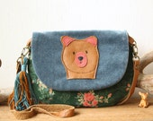 Teal velvet, green floral corduroy and caramel leather bear bag