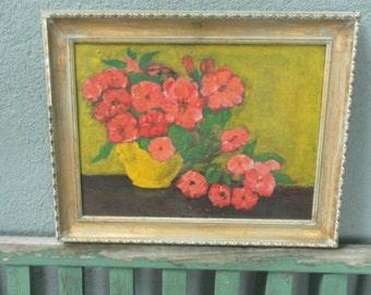 Vintage Oil Painting Floral Still Life RESERVED listing for Hollie