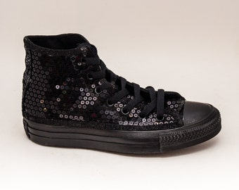 Sequin | Monochrome Custom Converse All Black Canvas Hi Top Sneakers Shoes