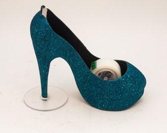 Glitter   Teal Blue High Heel Tape Dispenser by Princess Pumps