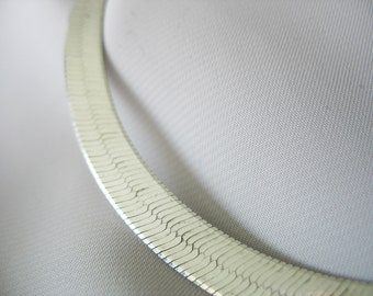 """Sterling Herringbone Necklace Classic Style Sophisticated 7mm 26"""" long Italy"""