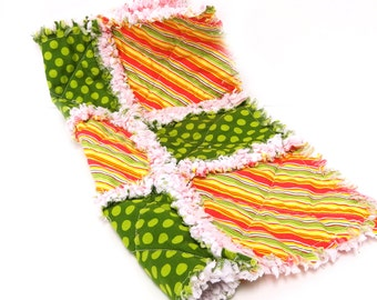 Blanket, Stripes Baby, Pink & Green Rag Quilt Girl Security Woobie Lovey- ready to ship
