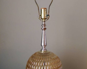 Vintage Amber Glass Lamp with Rounded Base with Bumpy Relief