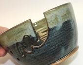"Yarn Bowl,Ceramic Yarn Bowl  ""SECOND"" Ceramic Knitting Bowl  Midnight Blue  with contrasting foggy cream rim  ""SECOND"" Ready to Ship"