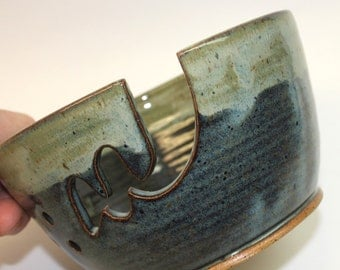 "Ceramic Yarn Bowl  ""SECOND"" Ceramic Knitting Bowl  Midnight Blue  with contrasting foggy cream rim  ""SECOND"" Ready to Ship"