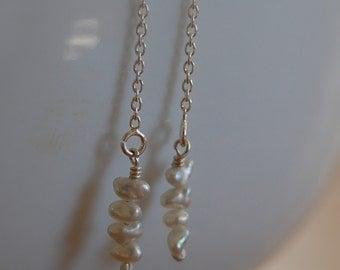 tiny akoya pearl earrings. keshi pearl. threader earrings.  akoya.  petite.  delicate. june birthstone