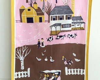 Dish Towel Mid Century Farm Scene Car Pink Brown Yellow Colors Designer R. Mishaan
