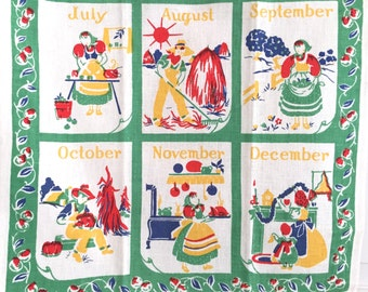 Vintage Calendar Towel 12 Months Year Four Seasons Farm Life