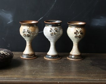 3 Ceramic Wine Cups 70s White and Brown Vintage From Nowvintage on Etsy