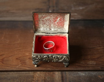 Vintage Ring Box Presentation Pewter With Red Velvet Lining Gift Box Valentines Woman playing Harp From Nowvintage on Etsy