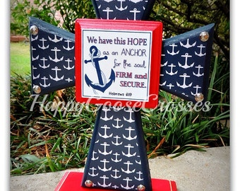 Wood Cross - Standing - Red & Navy, Navy/White Anchors design, with Hebrews 6:19 plaque
