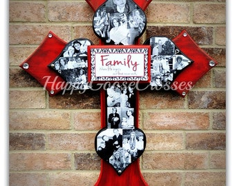 Wall Cross - Wood Cross - X-Large PHOTO Cross - 3 layers - You choose the colors and plaque saying - holds up to 18 photos