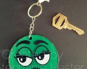 "Green and Orange goofy face 3"" keychain"