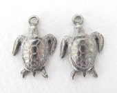 Vintage Turtle Charm Animal Pendant Pewter Double Sided Antiqued Silver Metal 18mm chm0529 (4)