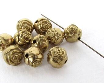 Vintage Rose Flower Bead Antiqued Gold Rosebud Plastic Round 9mm vpb0167 (10)