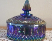 Indiana blue Carnival iridescent Glass Princess Candy Box Dish