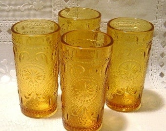 Four Brockway American Concord 5 oz amber Juice glasses Sandwich glass
