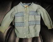 Vintage Layette Botany Wool Blue Baby Sweater, Merino