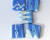 Handmade Square Buttons ZigZag Pattern in Shades of Blue and White