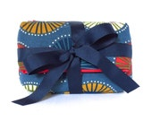 zip pouch gift set - pinwheel - navy blue with abstract print