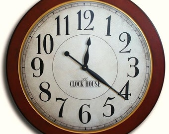 Oversized Clock 36in CAMBRIDGE RED Large Wall Clock-Family Heirloom-Hand painted-Father's Day-Free Inscription