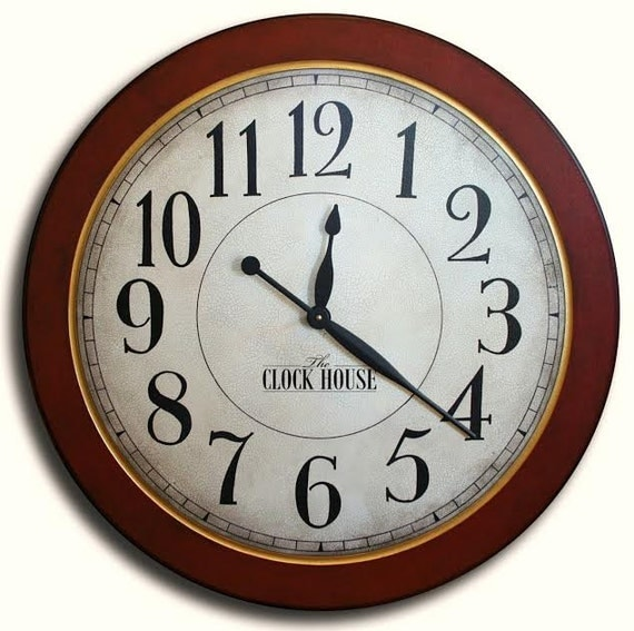 36in Cambridge Red Large Wall Clock Arabic Numbers Family