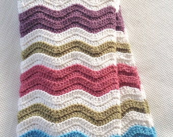 Ready to Ship Beautiful and Luxuriously Handcrafted CROCHET Blanket WAVES