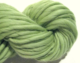 Handspun Yarn, Chartreuse 56 yds, green yarn, merino wool yarn, knitting supplies, crochet supplies, waldorf doll hair
