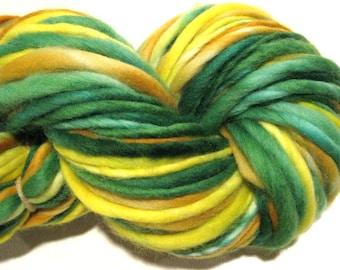 Handspun Yarn Daffodil 104 yards hand dyed merino wool green orange yellow waldorf doll hair knitting supplies crochet supplies