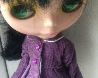 Purple corduroy jacket/coat for blythe doll