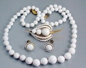 Vintage 70s White Jewelry Lot, Necklace, Earring Set, Rapallo Brooch, Enamel, Lucite
