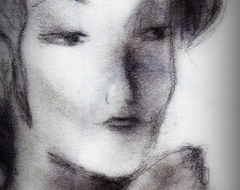 Giclee art print, woman's face, 8x10