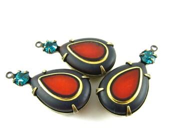 2 - Vintage Rhinestone Gem Pendants Pear Shaped Set Stones 1 Ring Antique Brass Prong Settings Red Topaz & Blue Zircon 26x13mm .