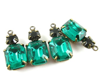 2 - Vintage Octagon Stone and Swarovski Crystal in 1 Ring 2 Stones Antique Brass Prong Settings - Emerald & Morion - 18x8mm