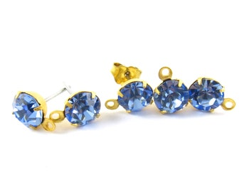 2 pcs - Gold Plated Swarovski Crystal Earring Posts with Loop Rhinestone Ear Studs Earring Findings Round Set Stones 6.5mm - Light Sapphire