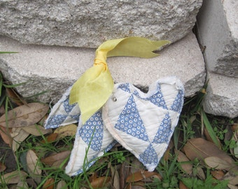 lavender heart sachets vintage patchwork