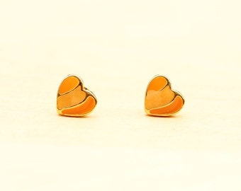 Orange Heart Studs, Heart Studs, Enamel Studs, Orange Studs, Gold Heart Studs